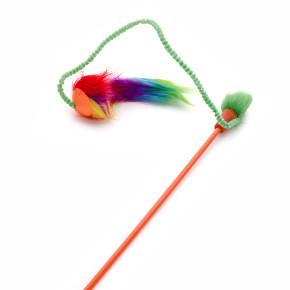 TPR loptička s plyšom na prúte, hračka