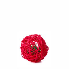 Červená ratanová guľa so zvončekom, hračka