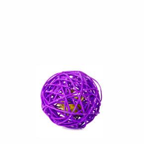 Fialová ratanová guľa so zvončekom, hračka
