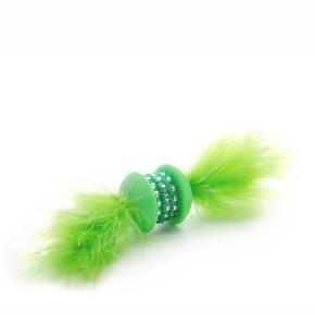Zelená TPR činka s pierkom, hračka