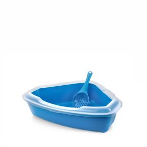 Rohová plastová mačacia toaleta (WC) s okrajom a lopatkou