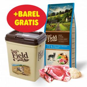 Sam's Field Gluten Free Beef & Veal Junior Large, superprémiové granule pre šteňatá a mladé psy veľkých a obrích plemien 13kg (Sams Field bez lepku)