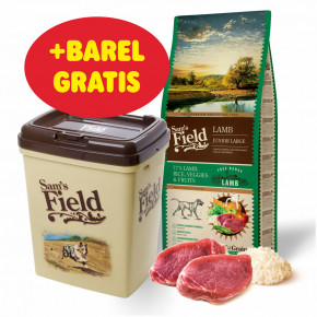 Sam's Field Low Grain Junior Large Lamb - Free Range, superprémiové granule pre šteňatá a mladé psy veľkých plemien s jahňacím z voľného chovu, 13kg (Sams Field bez pšenice)