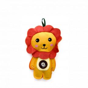 Lev, pískacia hračka z pevnej textilnej látky, 19cm