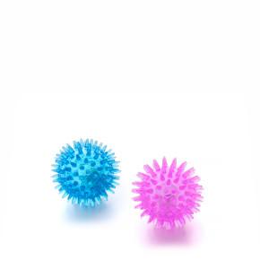 LED TPR loptička s pichliačmi 2 ks, odolná (gumová) hračka z termoplastickej gumy