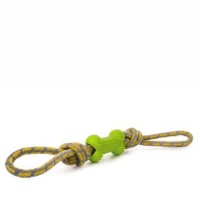JK Bavlnené preťahovadlo s TPR zelenou kostí, odolná (gumová) hračka z termoplastickej gumy