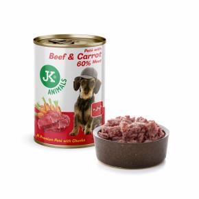 JK Beef & Carrot, Premium Paté with Chunks, prémiová mäsová konzerva pre psov