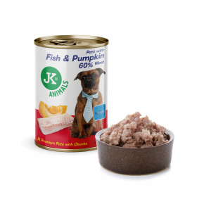 JK Fish & Pumpkin, Premium Paté with Chunks, prémiová mäsová konzerva pre psov