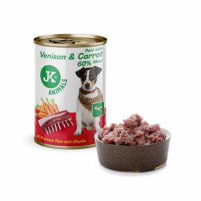 JK Venison & Carrot, Premium Paté with Chunks, prémiová mäsová konzerva pre psov