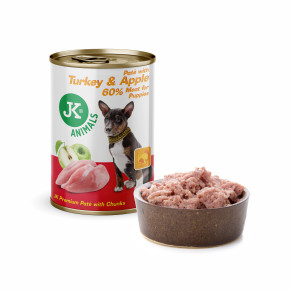 JK Turkey & Apple, Premium Paté with Chunks, prémiová mäsová konzerva pre psov