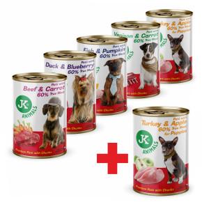 Mix konzerv 5+1, prémiová mäsová konzerva pre psov