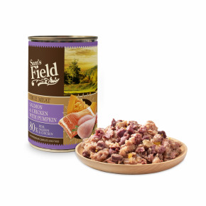 Sams Field konzerva s 80 % pravého lososa a kuracieho mäsa + tekvica 400g
