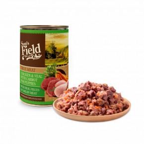 Sam's Field True Chicken & Veal Meat with Carrot for Puppies, superprémiová konzerva, 400g (Sams Field)