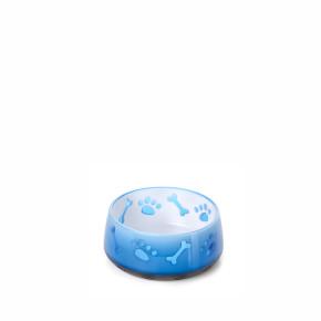 Farebná plastová miska pre psov modro-biela, malá, 300ml, 10,5 cm, s protišmykovou gumovou spodnou časťou