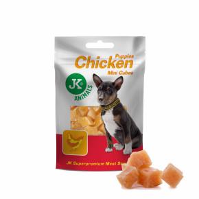 JK Meat Snack Puppy Chicken Mini Cubes, sušené kuracie mini kostičky pre šteňatá, mäsová maškrta, 50g