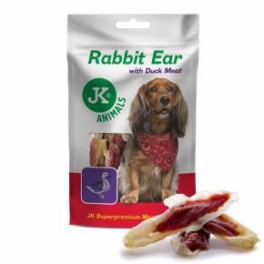 Meat Snack Rabbit Ear with Duck meat, sušené králičie uši s kačacím mäsom, mäsová maškrta, 80g