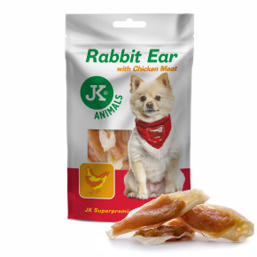 Meat Snack Rabbit Ear with Chicken meat, sušené králičie uši s kuracím mäsom, mäsová maškrta, 80g