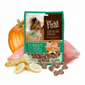 Sam's Field Crunchy Cracker Turkey with Pumpkin & Parsnip, chrumkavá morčacia maškrta s tekvicou a paštrnákom, 200g (Sams Field maškrta pre psov)