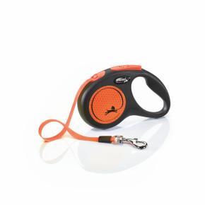 flexi New Neon pásik, veľkosť S 5m/15 kg, oranžová