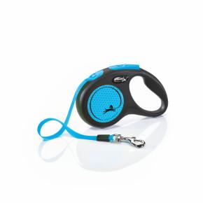 flexi New Neon pásik, veľkosť S 5m/15 kg, modrá