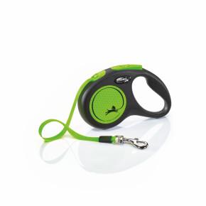 flexi New Neon pásik, veľkosť S 5m/15 kg, zelená