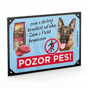 """Plastová tabuľka na plot Ovčiak """"POZOR PES"""""""