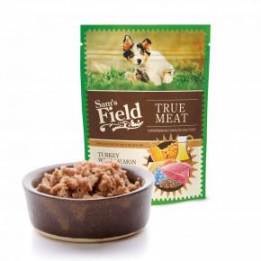 Sam's Field True Meat Turkey with Salmon & Linseed Oil for Puppy, šťavnaté mäsové kapsičky morčacie s lososom a ľanovým olejom pre šteňatá, 260g (superprémiove kapsičky pre šteňatá)