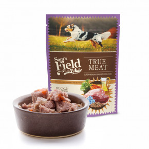 Sam's Field True Meat Duck & Turkey with Linseed Oil, šťavnaté mäsové kapsičky kačacie a morčacie mäso s ľanovým olejom pre psov, 260g (superprémiové kapsičky pre psov)