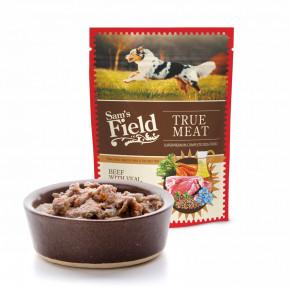 Sam's Field True Meat Beef with Veal, Carrot & Lingonberry, šťavnaté mäsové kapsičky hovädzie s teľacím, mrkvou a brusnice pre psov, 260g (superprémiove kapsičky pre psov)