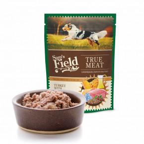 Sam's Field True Meat Turkey with Salmon & Lingonberry, šťavnaté mäsové kapsičky morčacie s lososom a brusnicami pre psov, 260g (superprémiové kapsičky pre psov)